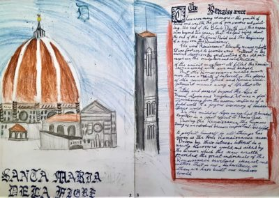 Students not only write about history, but also draw relevant cultural examples of the time, such as architecture.