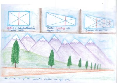 Middle school students play with angles, vertices, and diagonal lines to understand perspective division. Students use visual arts to create an artistic illustration of the mathematical concepts behind perspective drawing.